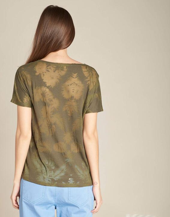 Tee-shirt kaki imprimé palmier Eflore (4) - 1-2-3