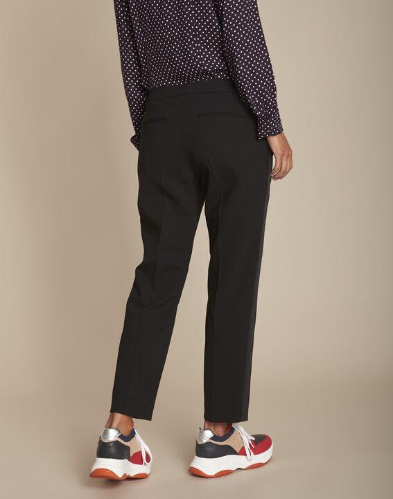 Pantalon noir et sa bande latérale microfibre Suzanne (4) - Maison 123