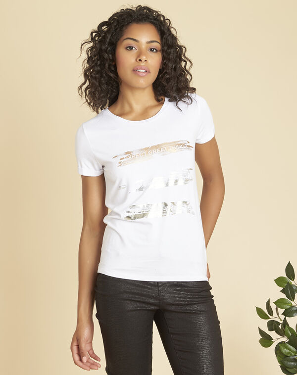 Tee-shirt blanc sérigraphié doré Expect (1) - 1-2-3