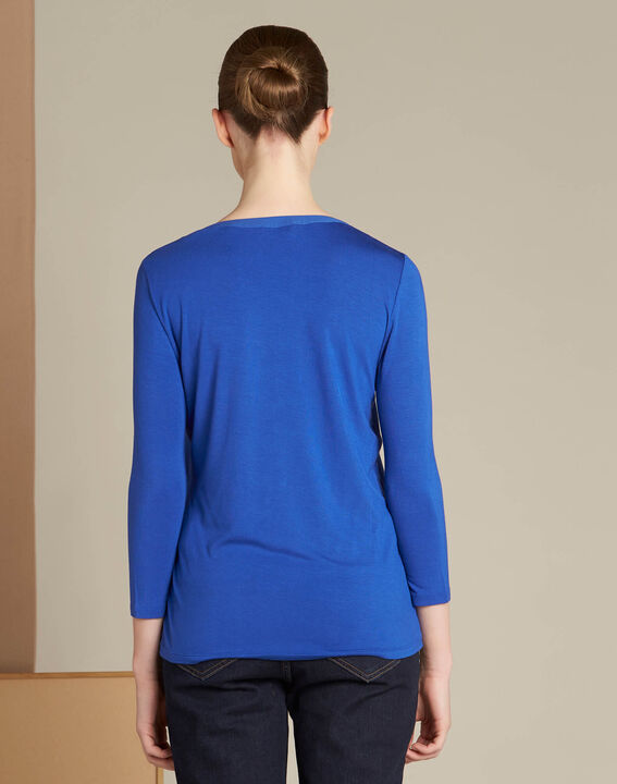 Königsblaues T-Shirt im Materialmix mit Netzstreifen am Ausschnitt Bianca (4) - 1-2-3