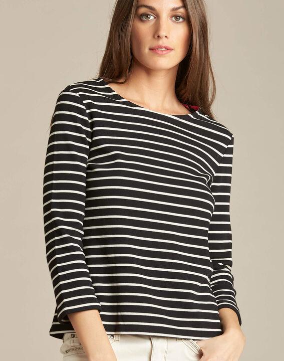 Schwarzes Streifen-T-Shirt mit 3/4-Ärmeln Escadre PhotoZ | 1-2-3
