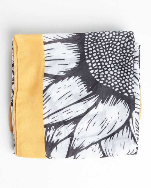 Ananas printed scarf in yellow and black (1) - 1-2-3