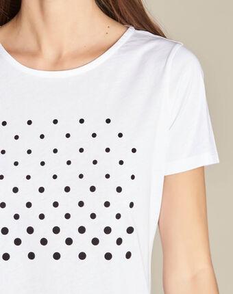 Tee-shirt blanc imprimé pois en coton elance blanc.