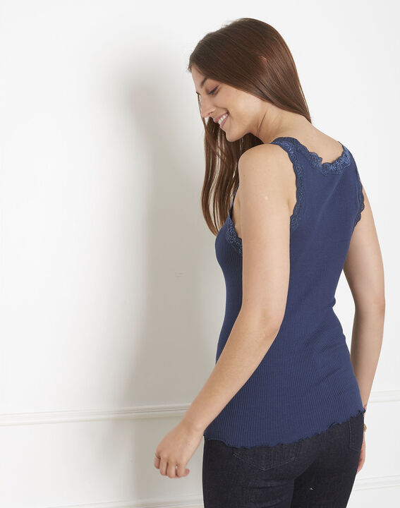 Guest blue vest top in cotton and silk with lace neckline (3) - 1-2-3