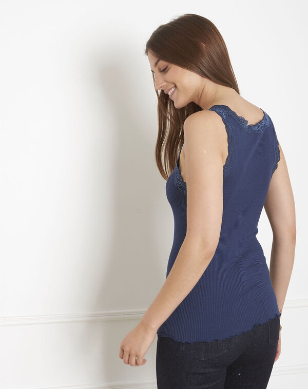 Guest blue vest top in cotton and silk with lace neckline (2) - 1-2-3