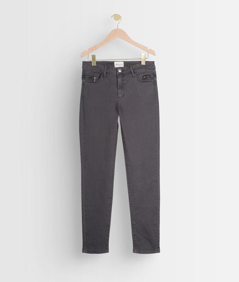 Jean slim en coton gris détail zip Nateo PhotoZ | 1-2-3