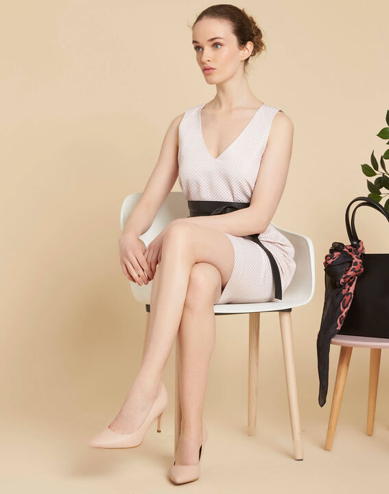 Idalie pale pink Jacquard dress with decorative back (2) - 1-2-3