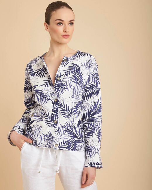 Fibie indigo cropped palm print jacket (2) - 1-2-3