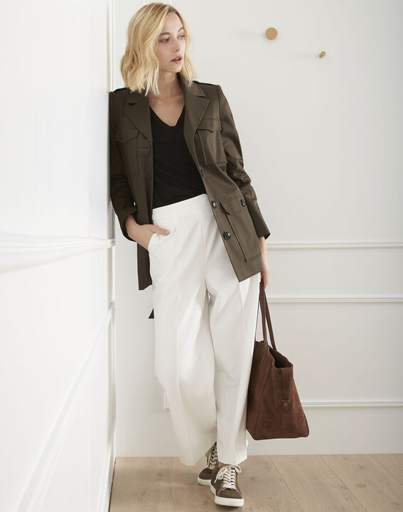 Pantalon blanc large cropped Germain PhotoZ | 1-2-3
