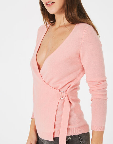 Poésie pink wrap-over wool-blend sweater  (3) - 1-2-3