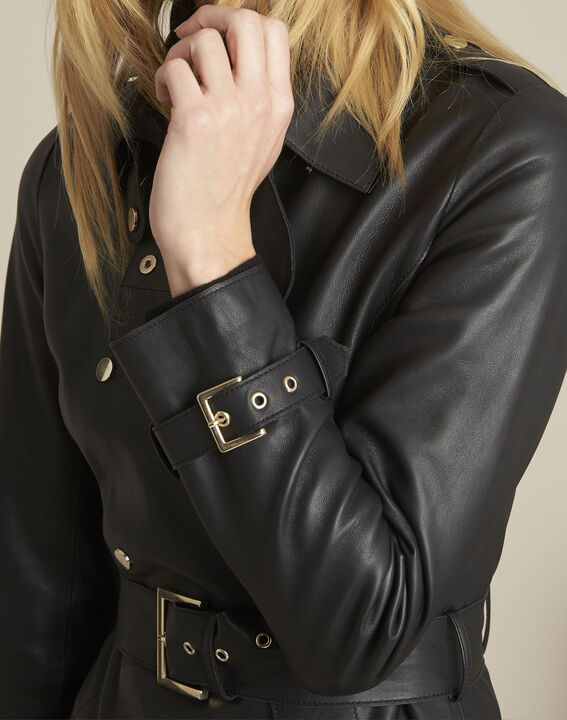 Buttoned black leather trench coat (3) - 1-2-3