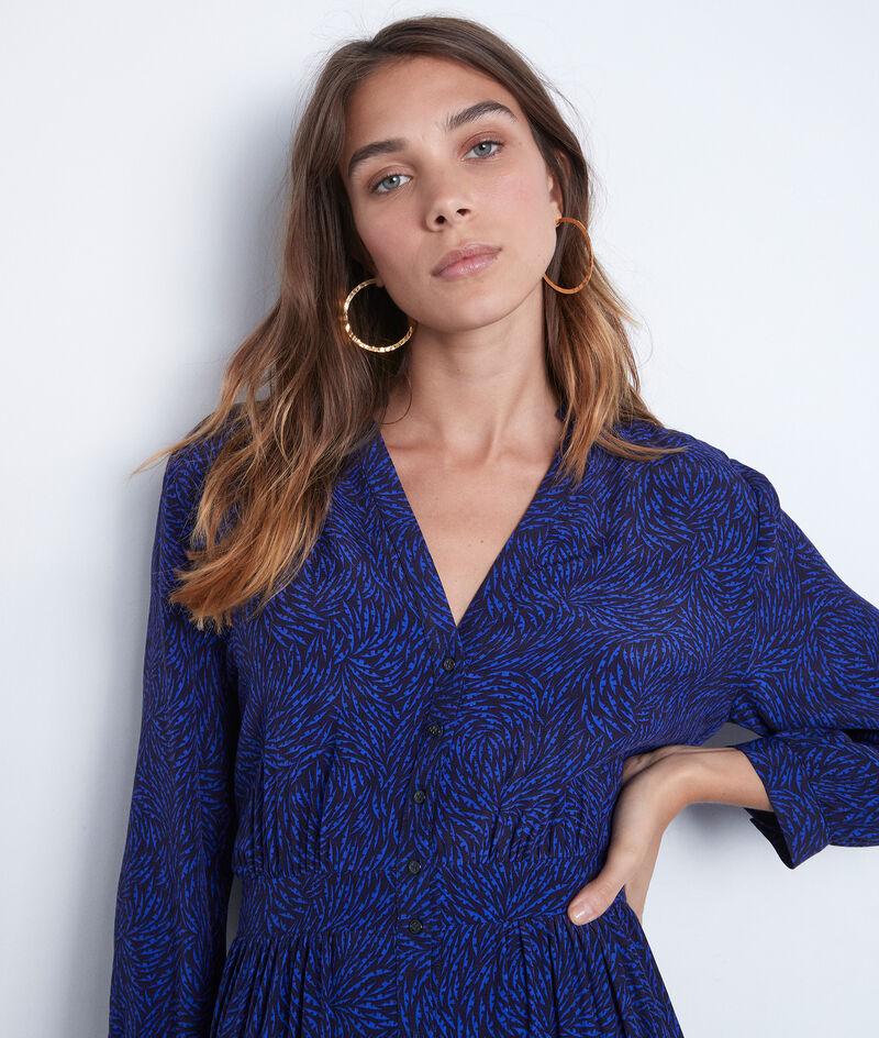 Robe longue fluide imprimée bleu vif Carola PhotoZ | 1-2-3