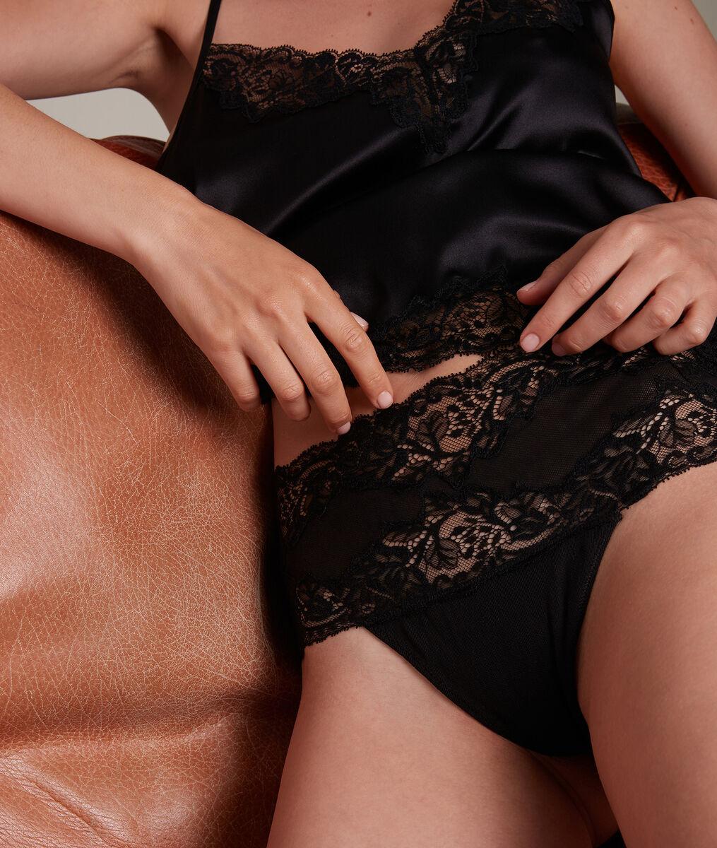Tanga haut en tulle coton et dentelle française noir Jeanne PhotoZ | 1-2-3