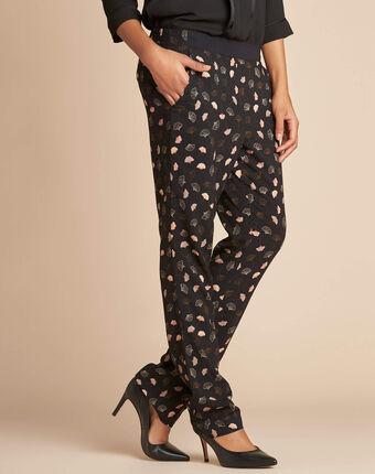 Pantalon noir imprimé feuillage ginko noir.