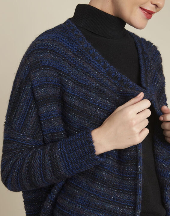 Gilet bleu rayé laine mélangée Back (3) - 1-2-3