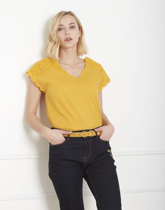Blouse jaune brodée Volage PhotoZ | 1-2-3