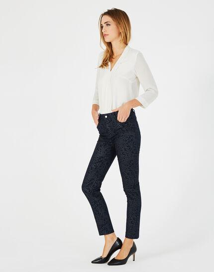 Marineblaue beschichtete 7/8-Jeans mit Brokat-Print Oliver (2) - 1-2-3