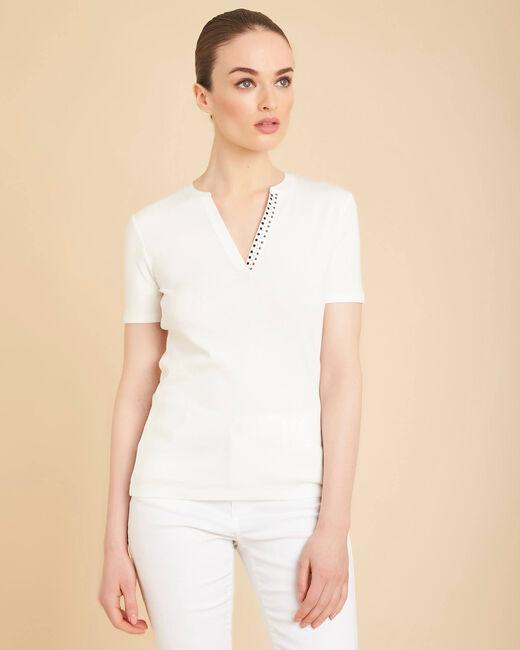 Tee-shirt ecru col mao à perles Episod (2) - 1-2-3