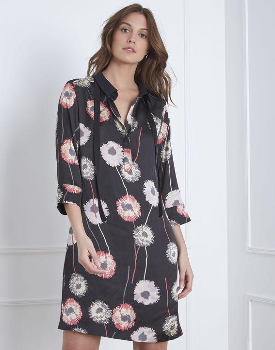 Schwarzes Kleid mit Blumen-Print Léontine (5) - Maison 123