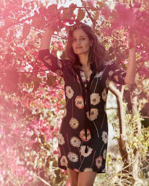 e61c5d60226e Robe noire imprimé fleuri Léontine (1) - 1-2-3