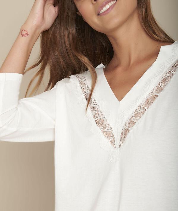 Tee-shirt écru encolure dentelle Clélia PhotoZ   1-2-3