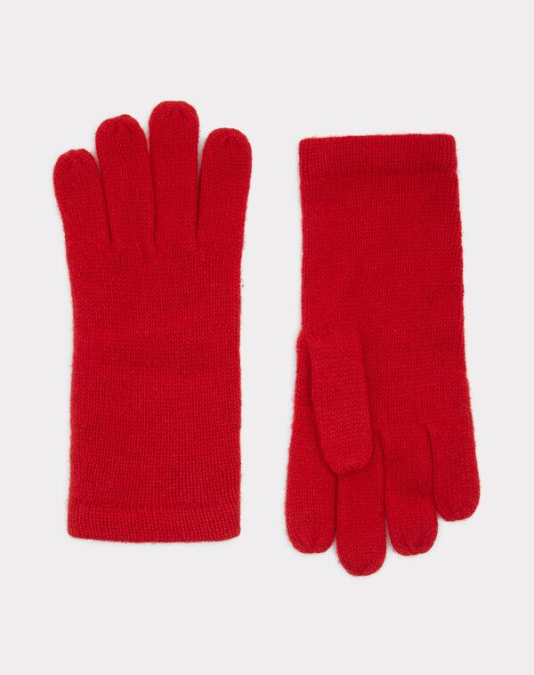 Gants rouge en cachemire tulipe à