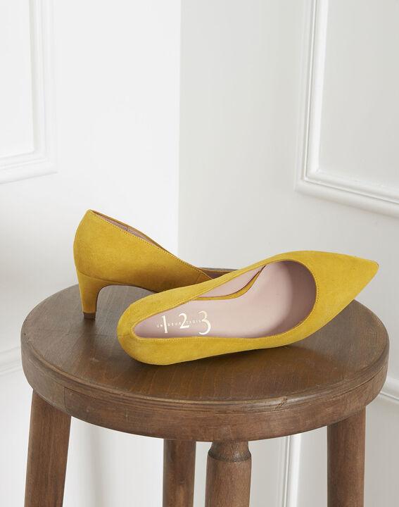 Escarpins jaunes en cuir velours Lili (2) - Maison 123