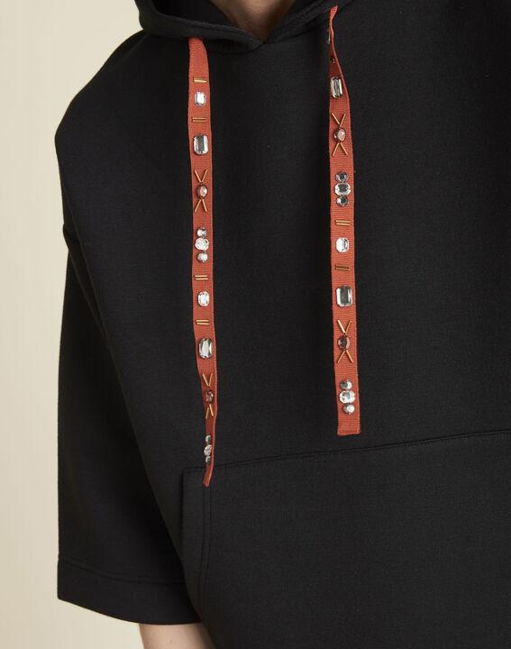 Sweat noir à capuche lacet bijou Grale (2) - 1-2-3