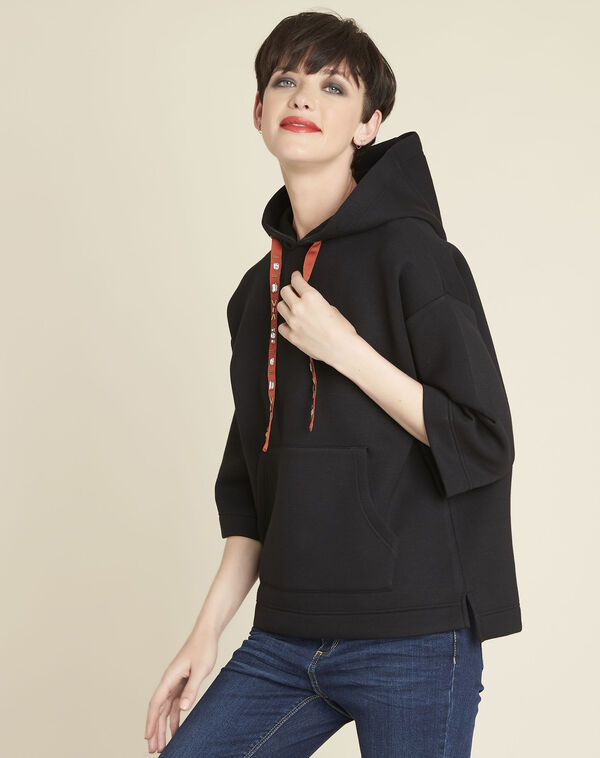 Grale black hooded sweatshirt with jewelled lacing (1) - 1-2-3