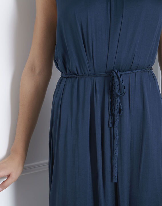 Langes Kleid in dunkelgrünem Satin Ivana (3) - Maison 123