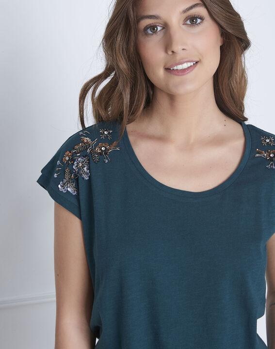 Dunkelgrünes T-Shirt bestickt Paola (3) - Maison 123