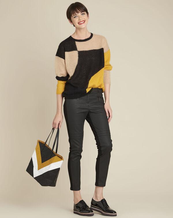 Zwarte colorblock trui van alpaka en mohair Bloqui (2) - 37653