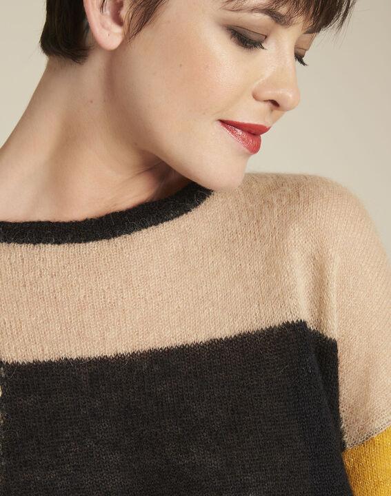 Schwarzer Pullover mit Color-Blocking aus Alpaka und Mohair Bloqui (3) - 1-2-3