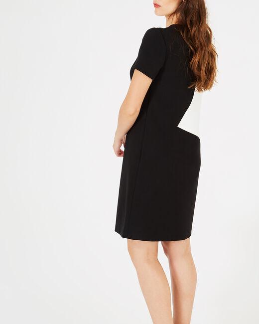 Schwarz-weißes grafisches Kleid Ambre (2) - 1-2-3