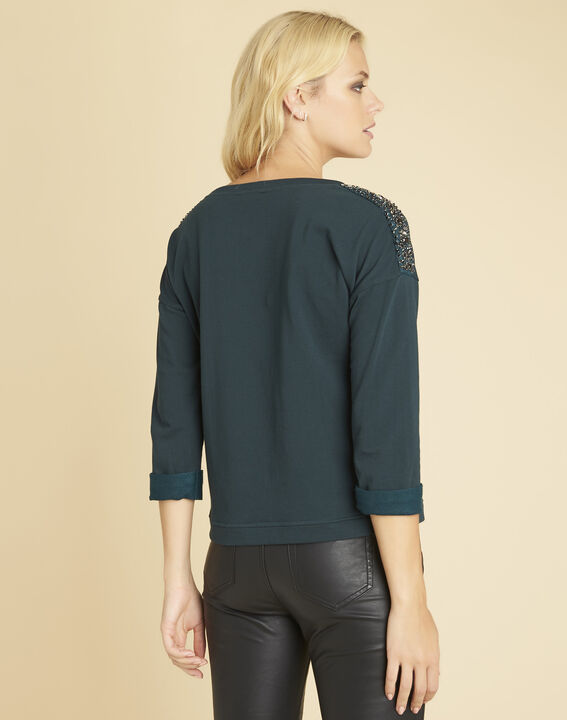 Glow dark green sweater with jewelled detailing on the shoulders (4) - 1-2-3