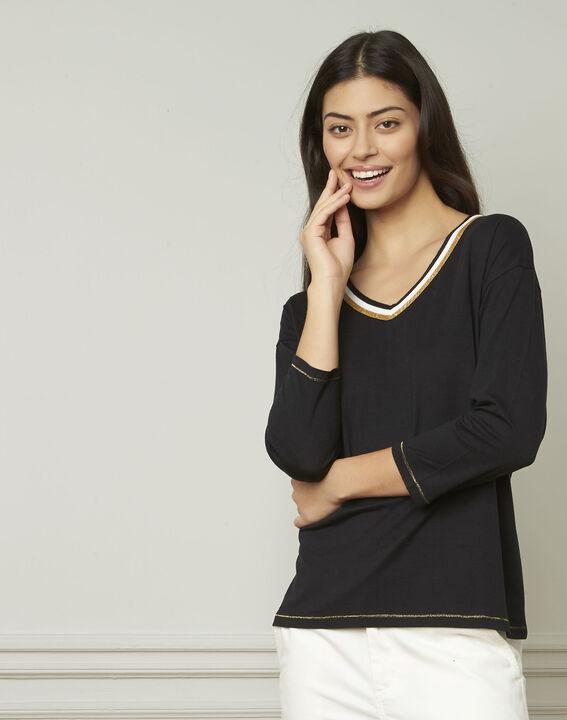 schwarzes T-Shirt mit originellem Ausschnitt Philomene (1) - Maison 123