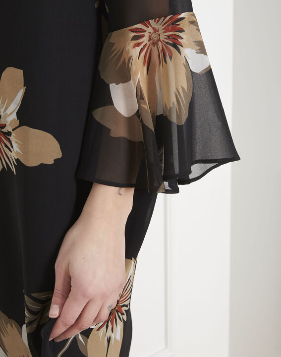 Schwarzes Kleid mit Blumen-Print Astrid (3) - Maison 123