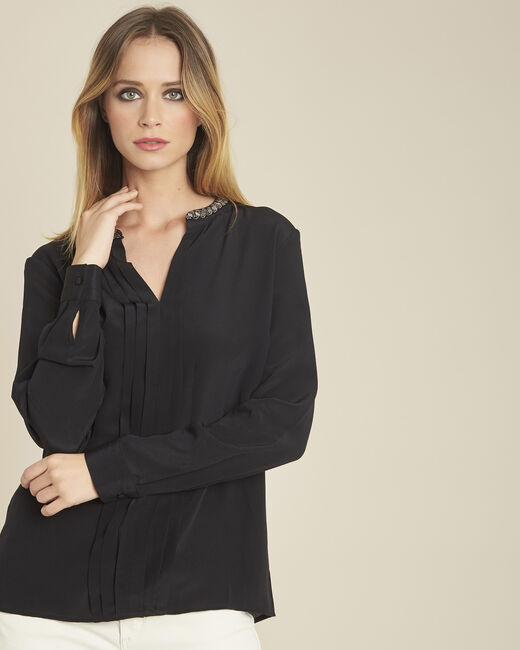 Celeste pleated black silk blouse with decorative neckline (1) - 1-2-3