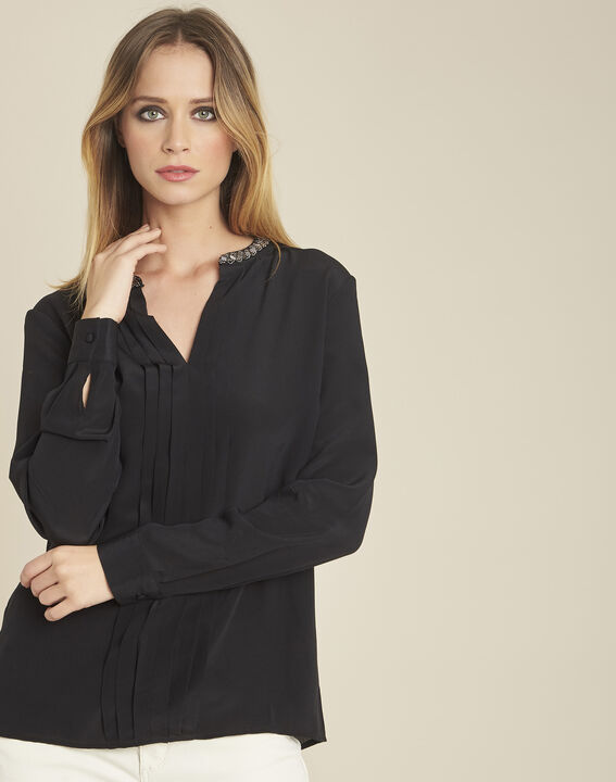 Celeste pleated black silk blouse with decorative neckline PhotoZ | 1-2-3