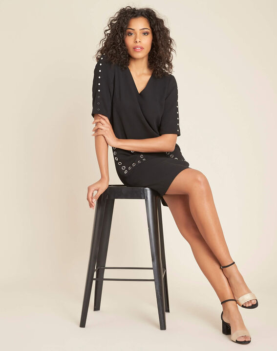 Plume black crepe dress (2) - 1-2-3