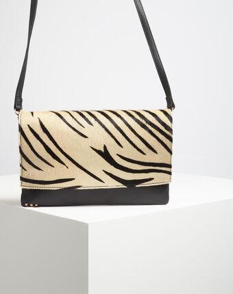 Umhängetasche mit zebra-print djenna schwarz/weiss.