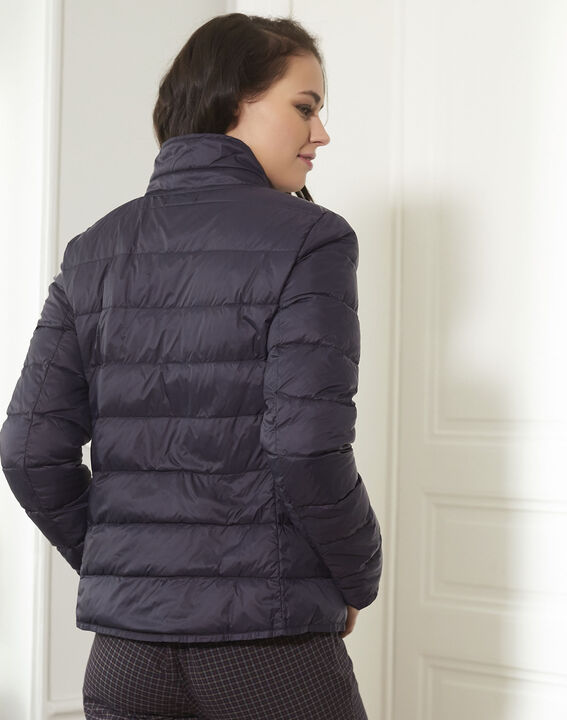 Penny short navy down jacket with beige lining (4) - Maison 123