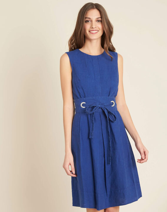 Poppy blue linen dress with belt (3) - 1-2-3