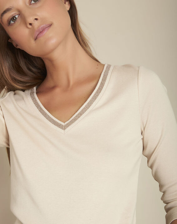 Tee-shirt beige encolure fantaisie Calypso PhotoZ | 1-2-3