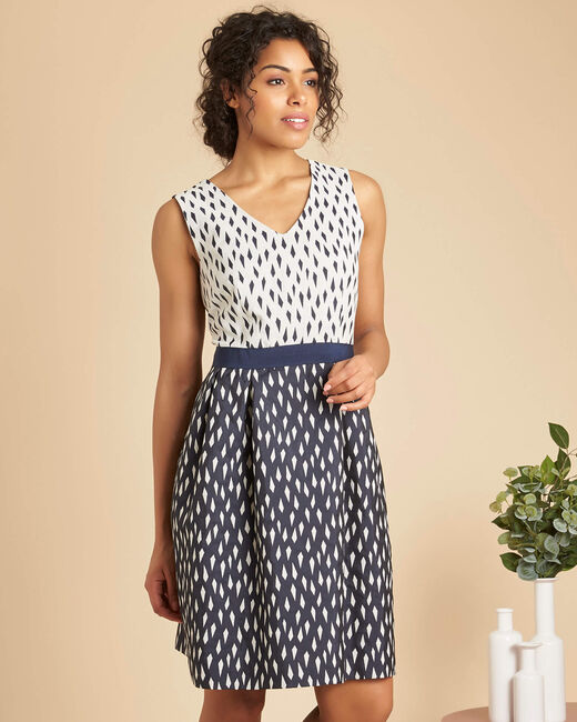 Isis diamond printed navy dress (2) - 1-2-3