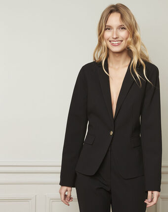 Eve black tailored microfibre jacket black.
