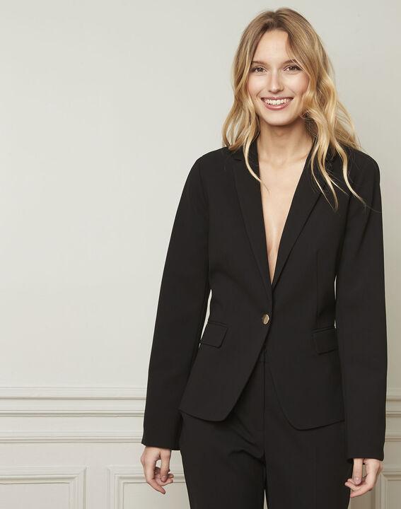 Eve black tailored microfibre jacket (1) - Maison 123