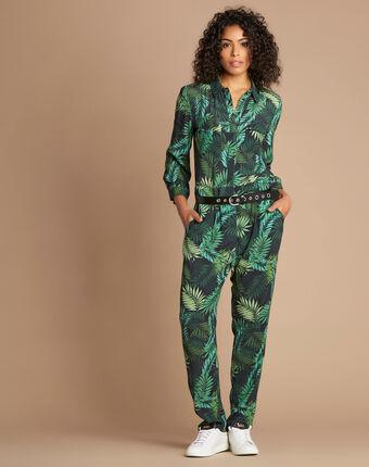 Overall mit palmen-print pacome waldgrün.