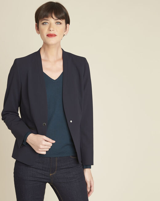 Majesté blue collarless jacket (1) - 1-2-3