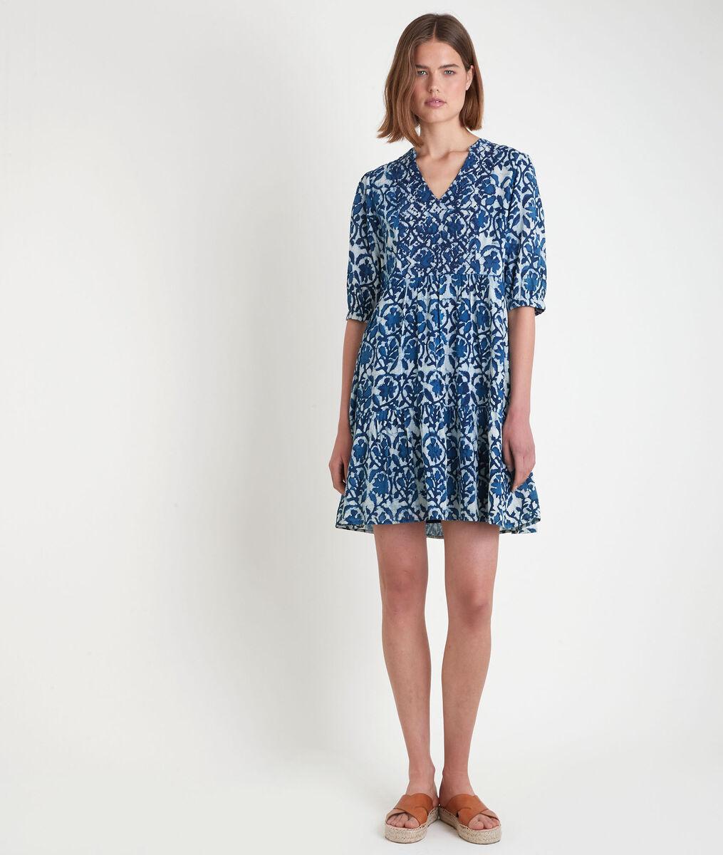 Robe courte imprimée bleue Madeleine PhotoZ   1-2-3